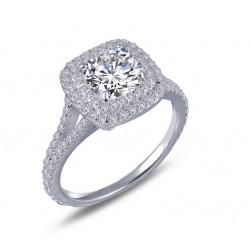 R0151CLP05. Lafonn Simulated Diamond Cushion Double Halo Engagement Ring