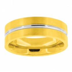 56060. Men's Stainless Steel Two-Tone Wedding Band