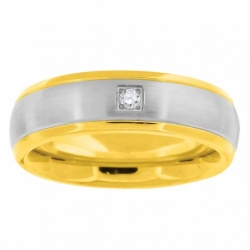 56169. Men's Two-Tone Stainless Steel Wedding Band
