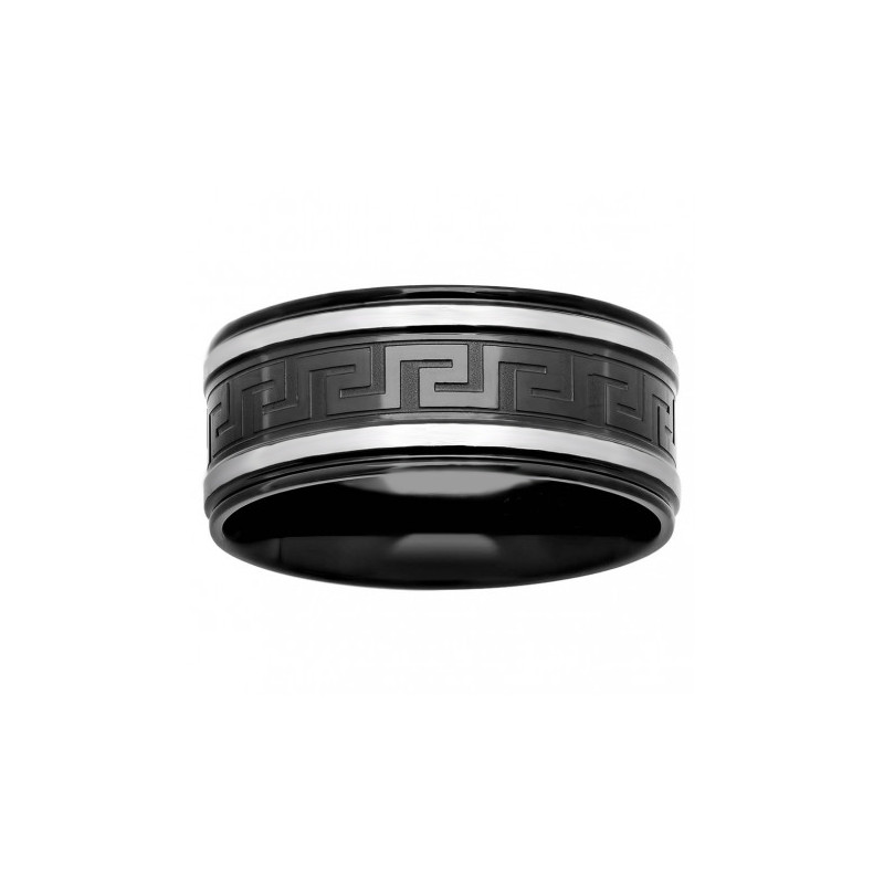 54840. Men's Black Two-tone Stainless Steel Wedding Band