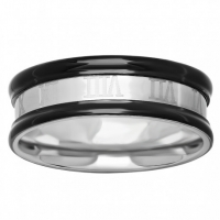54753. Men's Black Two-tone Stainless Steel Wedding Band