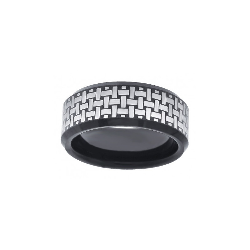 29580. Men's Black Two-tone Tungsten Wedding Band