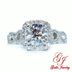 ENG01861. Infinity Diamond Cushion Halo Engagement Ring (Center Diamond Sold Separately)