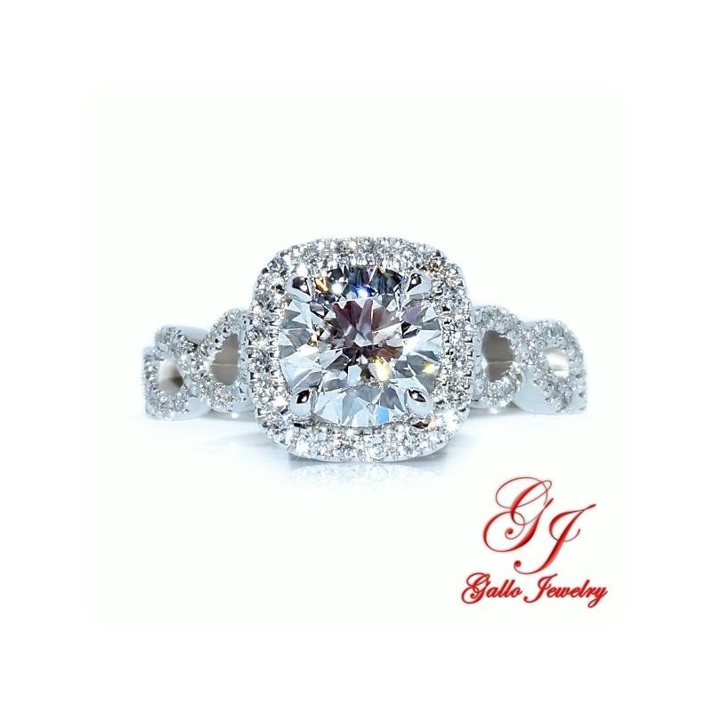 ENG01861. Infinity Diamond Cushion Halo Engagement Ring (Center Diamond Sold Separately)