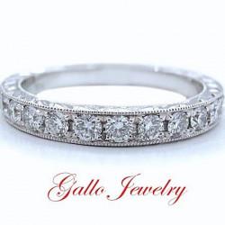 WB00700. Ladies Antique Style Diamond Wedding Band
