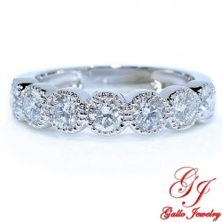 LR01706. Diamond Milgrain Bezel Wedding Band