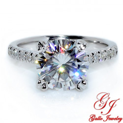 ENG02069. 2.70ct Forever One Moissanite and Diamond Under-Halo Engagement Ring