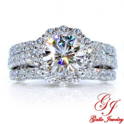 ENG01326. Three Row Diamond Halo Engagement Ring (Center Diamond Sold Separately)
