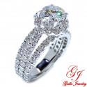 ENG01326. Three Row Diamond Halo Engagement Ring (Center Diamond Sold Separately)