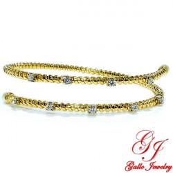 LB01793. Woman's Yellow Gold Diamond Flexible Bangle Bracelet