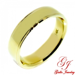 PWB001Y. 14KT Yellow Gold Unisex 6.00mm Plain Wedding Band