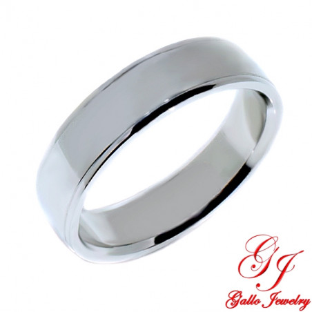 PWB001W. 14KT White Gold Unisex 6.00mm Plain Wedding Band
