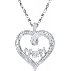 107600. Dancing Diamond Heart Mom Pendant