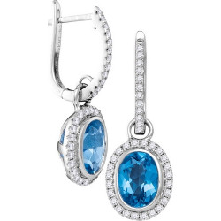 105135. Diamond and Blue Topaz Dangle Earrings