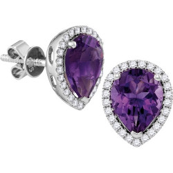 104989. Diamond and Amethyst Pear Shaped Earrings