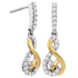114352. Two-Tone Diamond Infinity Dangle Earrings