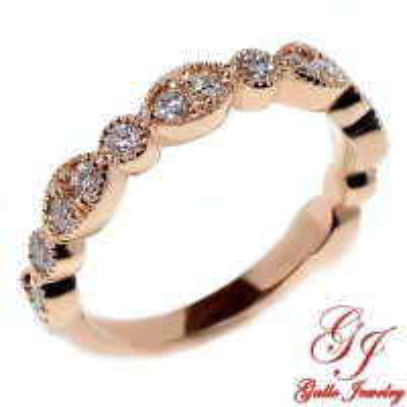 WB02030. Art Deco Milgrain Diamond Wedding Band