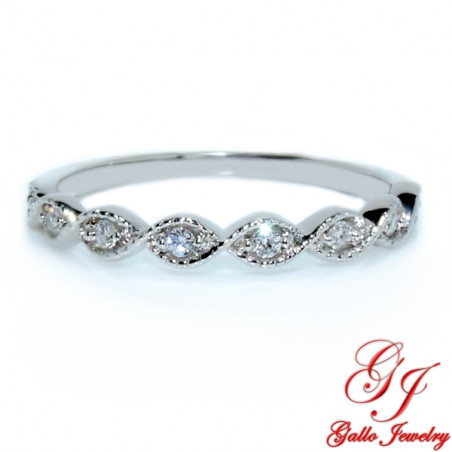 118585. Art Deco Milgrain Diamond Wedding Band