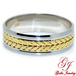 PWB006. 14KT Two-Tone Gold Unisex Braid Design Wedding Band