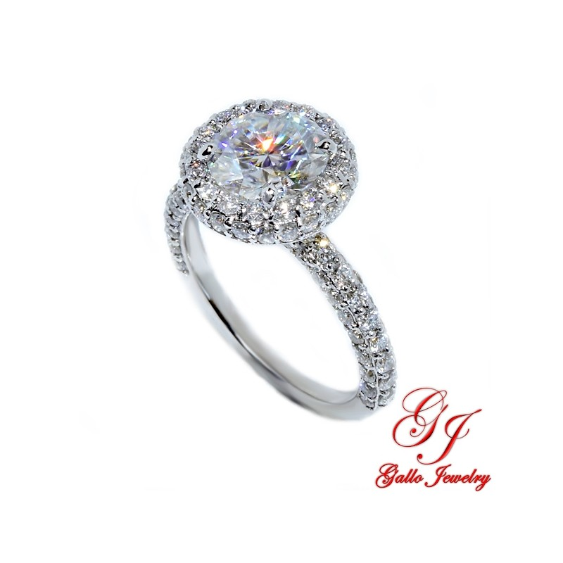 ENG02121. Round Diamond Halo Engagement Ring with a 1.90ct Forever One Moissanite