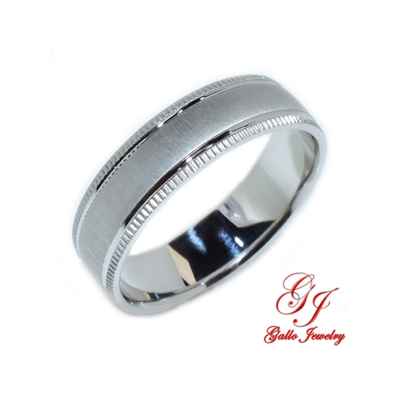 PWB007. 14kt White Gold 6.00mm Unisex Solid Wedding Band