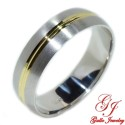PWB008. 14kt Two-Tone Gold 6.00mm Unisex Solid Wedding Band
