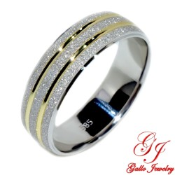 PWB009. 14KT Two-Tone Gold 6.50mm Unisex Satin Finish Wedding Band