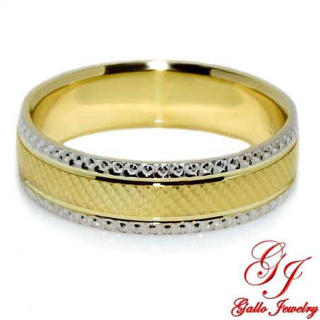 PWB0012. 14kt Two-Tone Gold 5.00mm Unisex Wedding Band