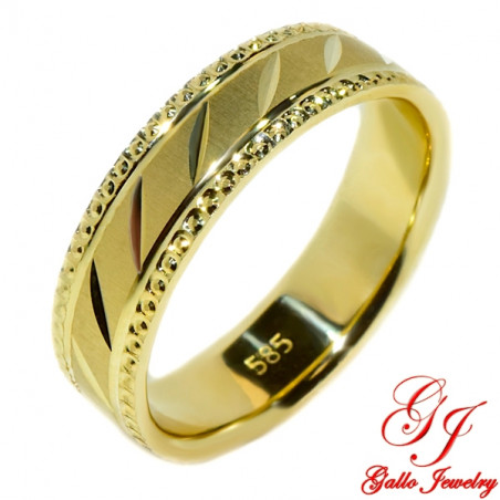 PWB0011. 14kt Yellow Gold Solid 5.00mm Unisex Wedding Band