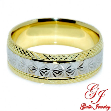 PWB0010. 14kt Two-Tone Gold 6.00mm Diamond Cut Unisex Wedding Band