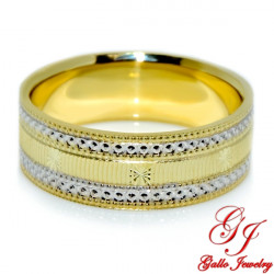 PWB0014. 14kt Two-Tone Gold 6.25mm Diamond Cut Unisex Wedding Band