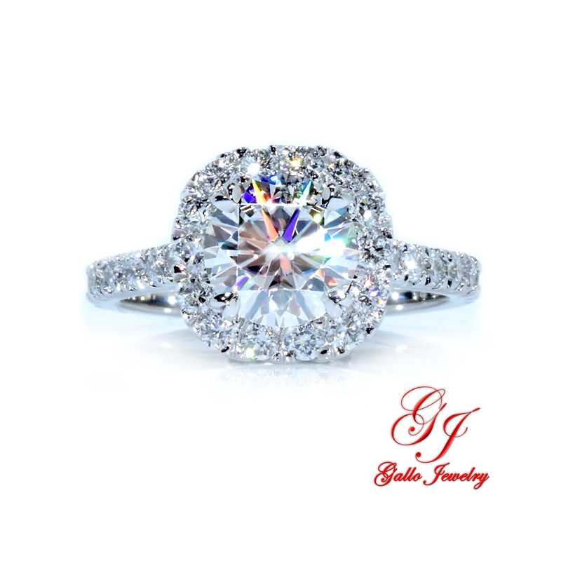 ENG02272. Cushion Diamond Halo Engagement Ring with a 1.50ct Forever One Moissanite