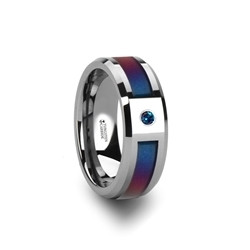 3069-TCPI. CERULEAN Tungsten Carbide Ring with Blue/Purple Color Changing Inlay and Alexandrite Setting - 8mm