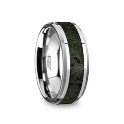 TYRION Men s Tungsten Wedding Band with Dark Green Dinosaur Bone Inlay   0c8353b30