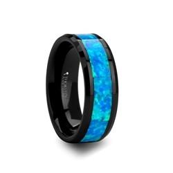 C830-CBGO. QUANTUM Blue & Green Opal Inlaid Black Ceramic Ring - 4mm - 10mm