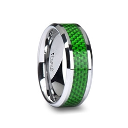 W757-GCFT. VERMONT Tungsten Carbide Ring with Emerald Green Carbon Fiber Inlay - 8mm