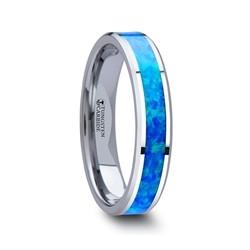W758-TBGO. QUASAR Tungsten Wedding Band with Blue Green Opal Inlay - 4mm - 10mm