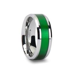 W760-TGVI. VARDON Tungsten Carbide Ring with Textured Green Inlay - 8mm
