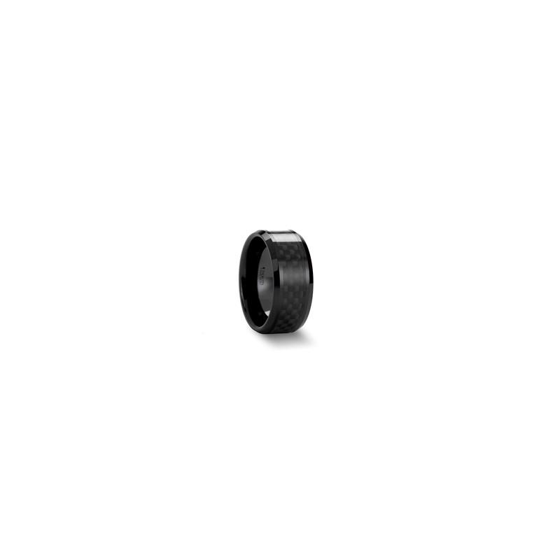 W561 Bcbc Onyx Black Ceramic Ring With Black Carbon Fiber