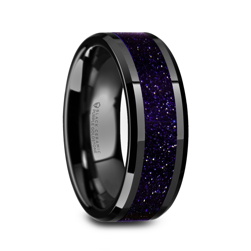 W5985 Bcpgs Melo Black Ceramic Beveled Polished Mens Wedding Band With Purple Goldstone Inlay 8mm