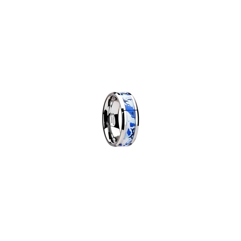 General Tungsten Wedding Ring With Blue And White Camouflage Inlay 8mm