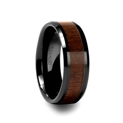 C772-BWIC.YUKON Black Ceramic Ring with Black Walnut Wood Inlay and Beveled Edges - 4mm - 12mm