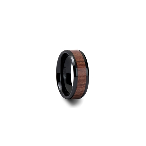 C773-RWIC. DENALI Black Ceramic Carbide Ring with Bevels and Rosewood Inlay - 4mm- 12mm