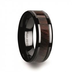 C5981-BCBW. BENNY Black Ceramic Polished Beveled Edges Men's Wedding Band with Bubinga Wood Inlay - 8mm