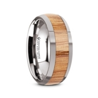 W5976-TCRO. CINDER Polished Edges Domed Tungsten Men's Wedding Band with Red Oak Wood Inlay - 8mm