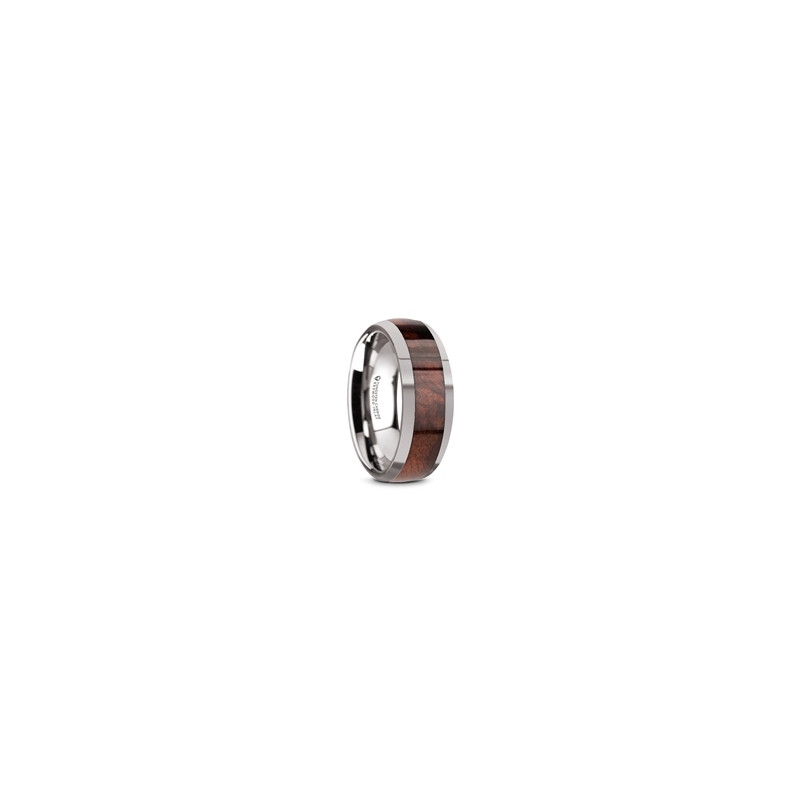W5975-TCRW. GROVE Men's Tungsten Polished Edges Domed Wedding Ring with Redwood Inlay - 8mm