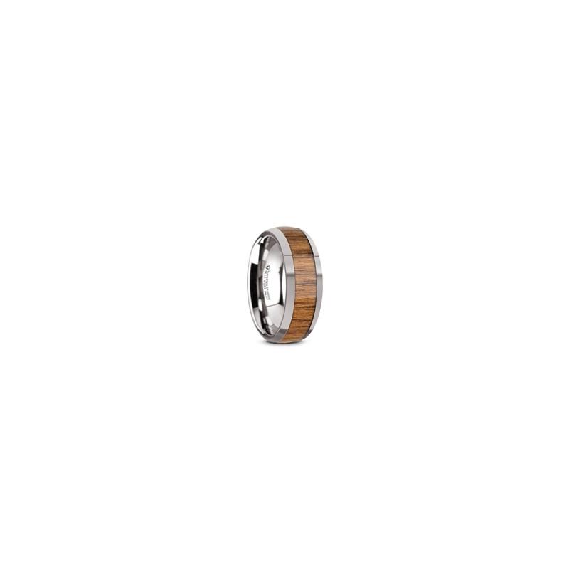 W5974-TCTW. THEKKA Domed Tungsten Carbide Polished Edges Teak Wood Inlaid Men's Wedding Ring - 8mm