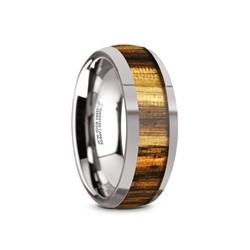 TC5957-DZW. TIGRE Tungsten Carbide Polished Finish Men's Domed Wedding Band with Zebra Wood Inlay - 8mm