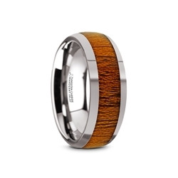 TC5954-DMW. SWIETENIA Tungsten Carbide Mahogany Wood Inlay Men's Domed Wedding Ring with Polished Finish - 8mm