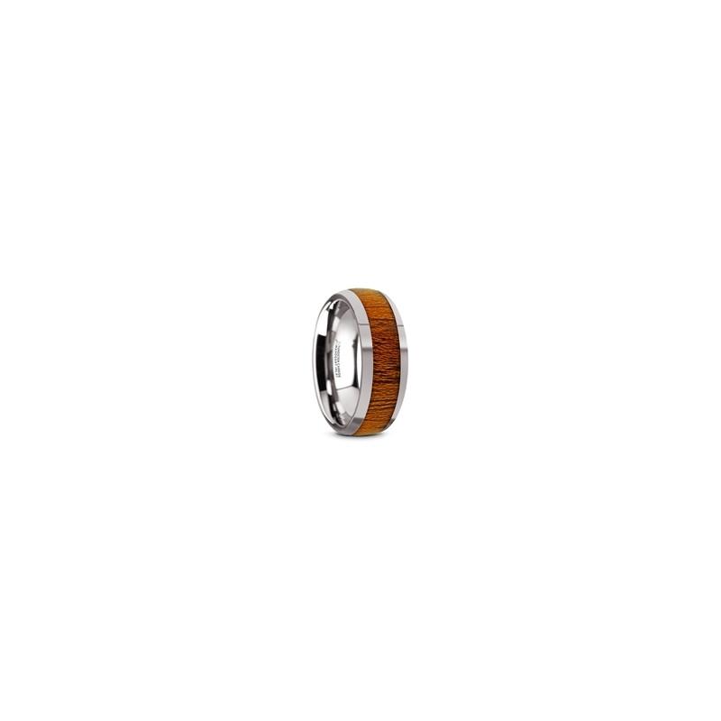 TC5954-DMW. SWIETENIA Tungsten Carbide Mahogany Wood Inlay Men's Domed Wedding Ring with Polished Finish - 8mm